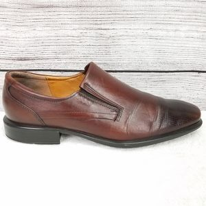 ECCO Leather Perforated Toe Loafer Slip-on Shoes …